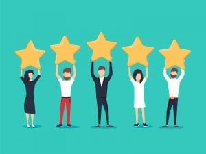 Five Stars to signify a five star rating for a business