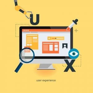 UX design concept, inspecting and placing design elements on a webpage.