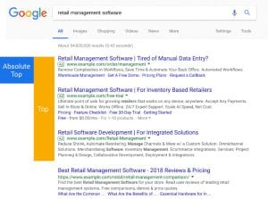 Google search engine results page showing ad positions