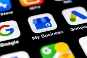 Google My Business App on phone screen to improve SEO