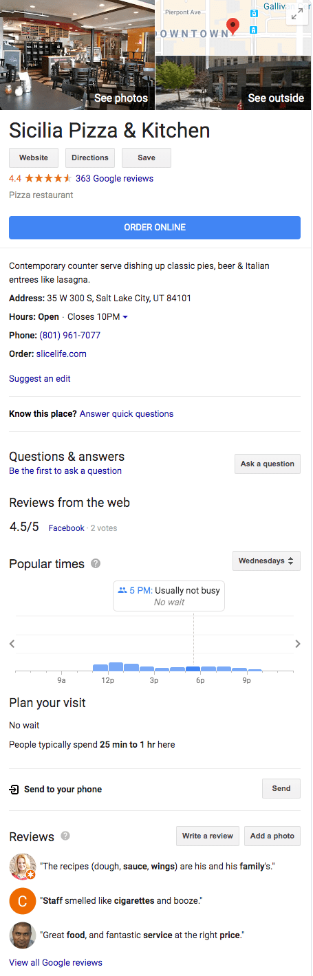 Google Knowledge panel for pizza restaurant using local seo guide