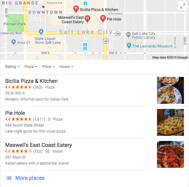 Google Local Snack Pack showcasing top 3 businesses for local seo guide