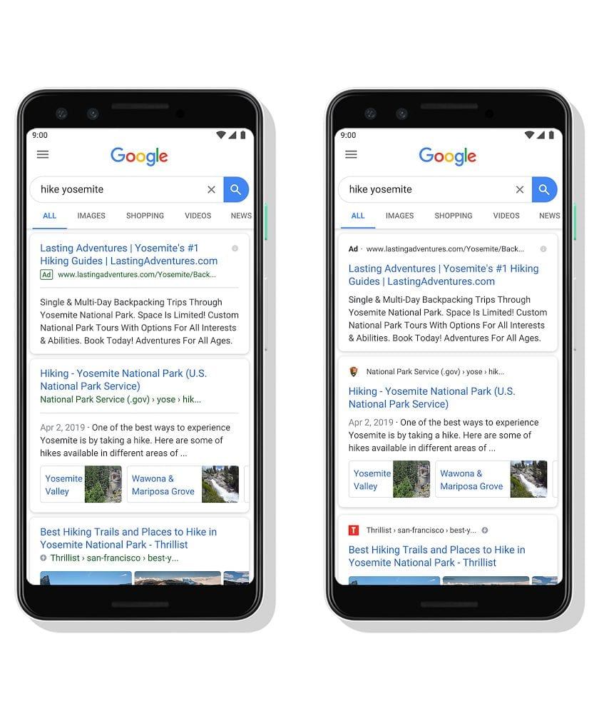 Old Google Ad design compared to new black labeled design