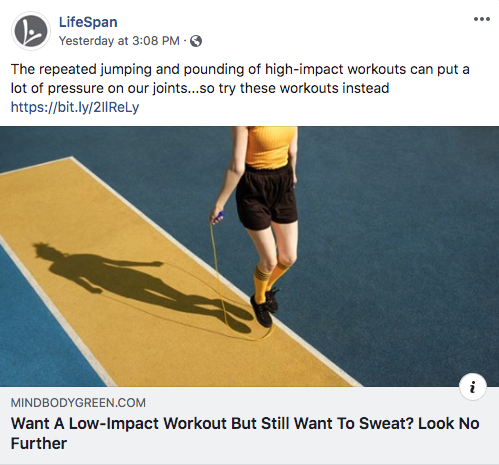 Ad for LifeSpan Fitness on Facebook