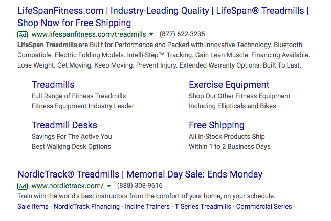 Ad for LifeSpan Fitness on Google Search Engine Results Page