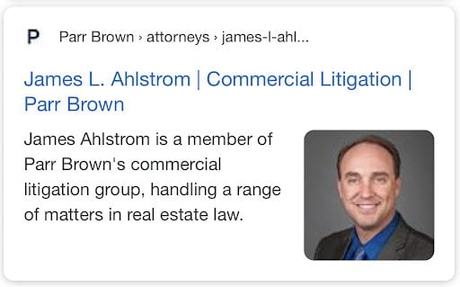 Rich snippet for attorney on google's results page