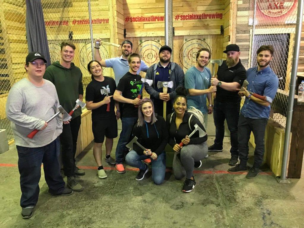 Firetoss team enjoying a night of axe throwing