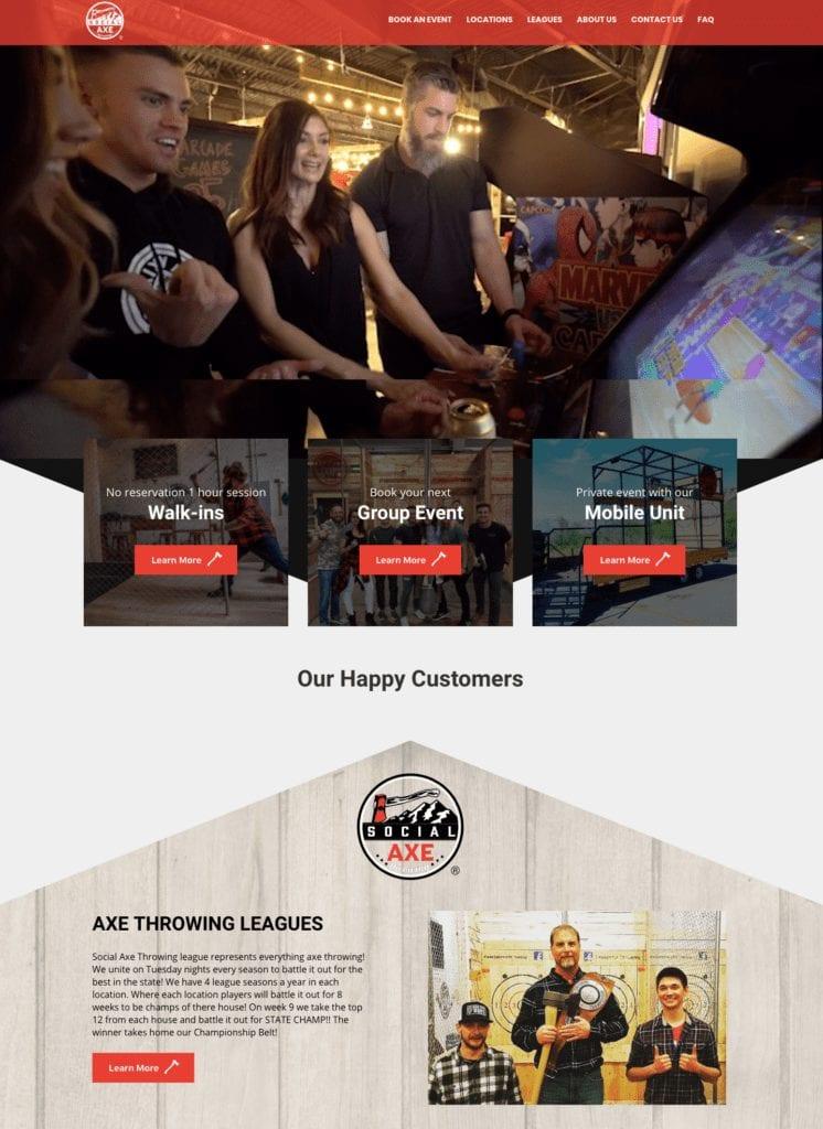 Homepage of Social Axe Throwing website