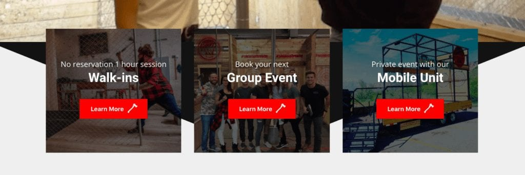 Calls to action on Social Axe Throwing website