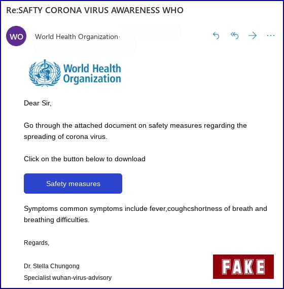 Covid 19 Scam WHO Email