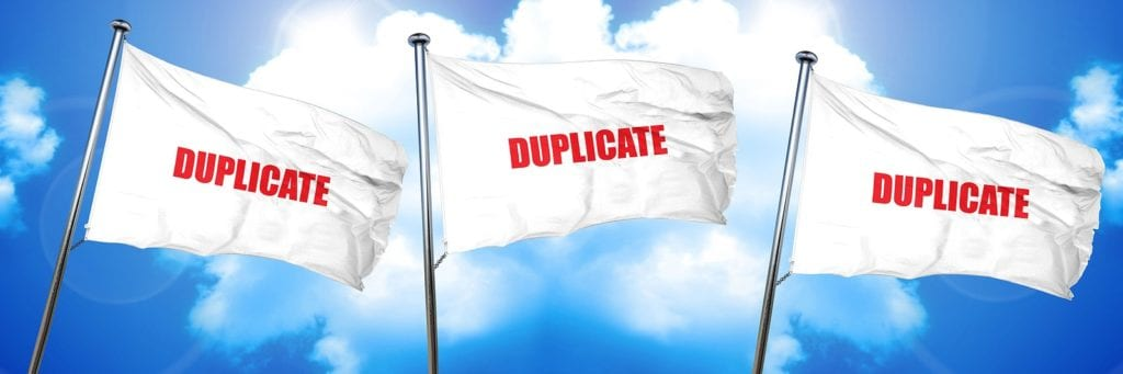 flags with duplicate on them to highlight how to duplicate a page in WordPress