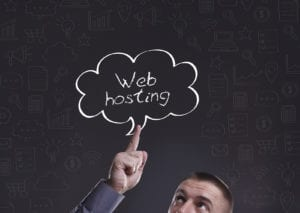 Man thinking about web hosting