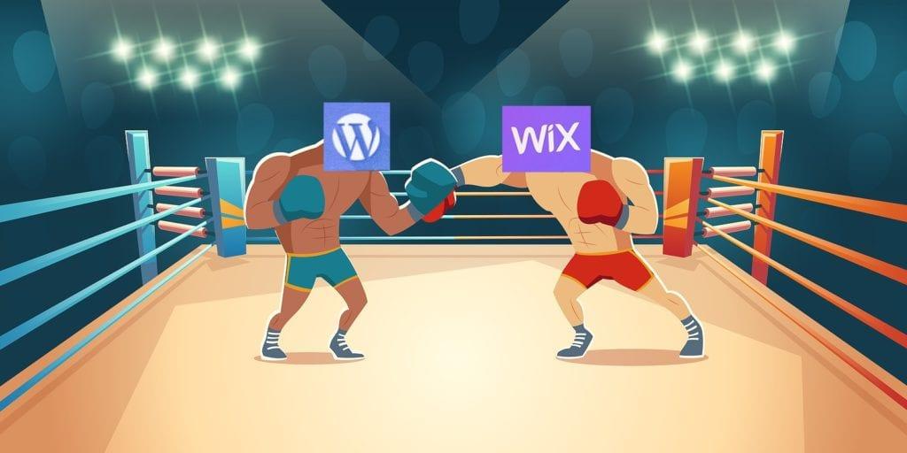 why use WordPress vs why use Wix boxing match