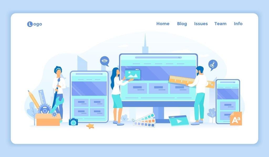WordPress and Squarespace website templates concept art