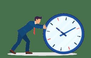 businessman pushing clock saving time hiring web dev consultant