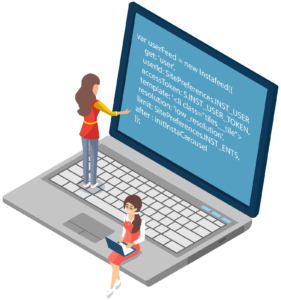 programmers coding on laptop